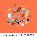summer pop art illustration... | Shutterstock .eps vector #1115228678