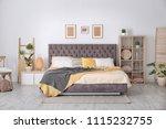 bedroom interior with... | Shutterstock . vector #1115232755