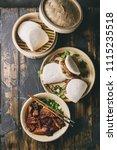 gua bao buns with pork   Shutterstock . vector #1115235518