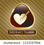shiny badge wit gold emblem or ... | Shutterstock .eps vector #1115237006