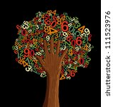 School education concept tree made with letters and human hand. - stock photo