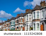 a row of typical british... | Shutterstock . vector #1115242808