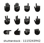 hand gestures and sign language ... | Shutterstock .eps vector #1115243942