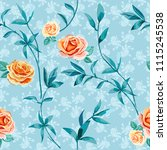 trendy floral background with... | Shutterstock .eps vector #1115245538