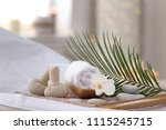 beautiful spa composition on... | Shutterstock . vector #1115245715