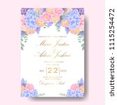 wedding floral invitation with  ... | Shutterstock .eps vector #1115254472