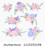 flower bouquet with hydrangea ... | Shutterstock .eps vector #1115255198