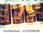 glass of soda waters or cola is ... | Shutterstock . vector #1115258528