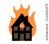 house fire vector illustration  ... | Shutterstock .eps vector #1115261075