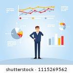 businessman looks at various... | Shutterstock .eps vector #1115269562