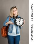 girl student with a big clock... | Shutterstock . vector #1115283992