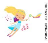 cute fairy flapping magic wand. ...   Shutterstock .eps vector #1115289488
