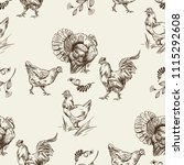 seamless pattern with chickens  ... | Shutterstock .eps vector #1115292608