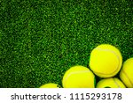 tennis ball on green background ... | Shutterstock . vector #1115293178