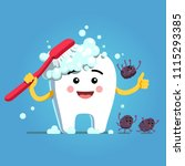 Happy cartoon tooth character brushing himself with toothbrush & toothpaste foam. Germs falling down, fleeing, running away. Funny motivational clipart. Teeth hygiene character. Flat vector illustrati