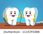 happy cartoon tooth character... | Shutterstock .eps vector #1115293388