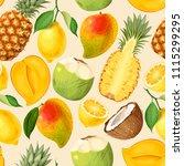 seamless exotic friut | Shutterstock .eps vector #1115299295