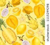 seamless exotic friut | Shutterstock .eps vector #1115299298