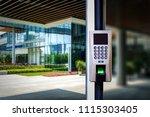 the fingerprint code is locked... | Shutterstock . vector #1115303405