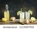 ginger ale or kombucha in... | Shutterstock . vector #1115307932