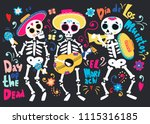day of the dead. band of... | Shutterstock .eps vector #1115316185