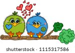 cute love bird couple sitting... | Shutterstock .eps vector #1115317586