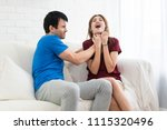 angry boyfriend tries to... | Shutterstock . vector #1115320496
