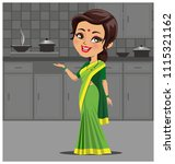 indian woman in kitchen making... | Shutterstock .eps vector #1115321162