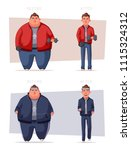 fat man. fat and health... | Shutterstock . vector #1115324312
