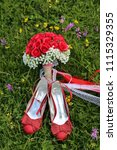 Red Bridal Flower And Shoe