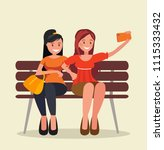 two girls sit on a bench and... | Shutterstock .eps vector #1115333432