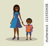 african american mother with...   Shutterstock .eps vector #1115333438