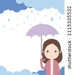 woman is holding an umbrella... | Shutterstock .eps vector #1115335532