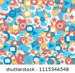 social media icons technology... | Shutterstock .eps vector #1115346548