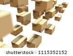 cardboard package and label 3d... | Shutterstock . vector #1115352152