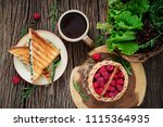 panini sandwich with cheese and ... | Shutterstock . vector #1115364935