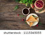 panini sandwich with cheese and ... | Shutterstock . vector #1115365055