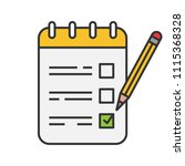to do list color icon. notepad... | Shutterstock .eps vector #1115368328