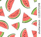 watermelon seamless pattern.... | Shutterstock .eps vector #1115372198