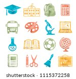 school and education icons... | Shutterstock . vector #1115372258