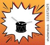 drum sign. vector. comics style ... | Shutterstock .eps vector #1115372675