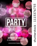 night dance party music poster... | Shutterstock .eps vector #1115376755