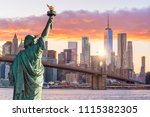 statue liberty and  new york... | Shutterstock . vector #1115382305
