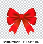 smooth red satin ribbon beam on ... | Shutterstock .eps vector #1115394182