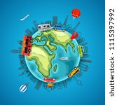 travel around the earth. go... | Shutterstock .eps vector #1115397992