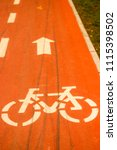 Small photo of Asphalt bicycle lane, with white bike symbol and arrow symbol
