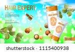 realistic 3d macadamia nut oil...   Shutterstock .eps vector #1115400938