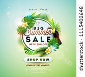 summer sale design with flower  ... | Shutterstock .eps vector #1115402648