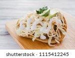 tostada mexicana de pollo...   Shutterstock . vector #1115412245