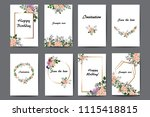 floral design for greeting card ... | Shutterstock .eps vector #1115418815